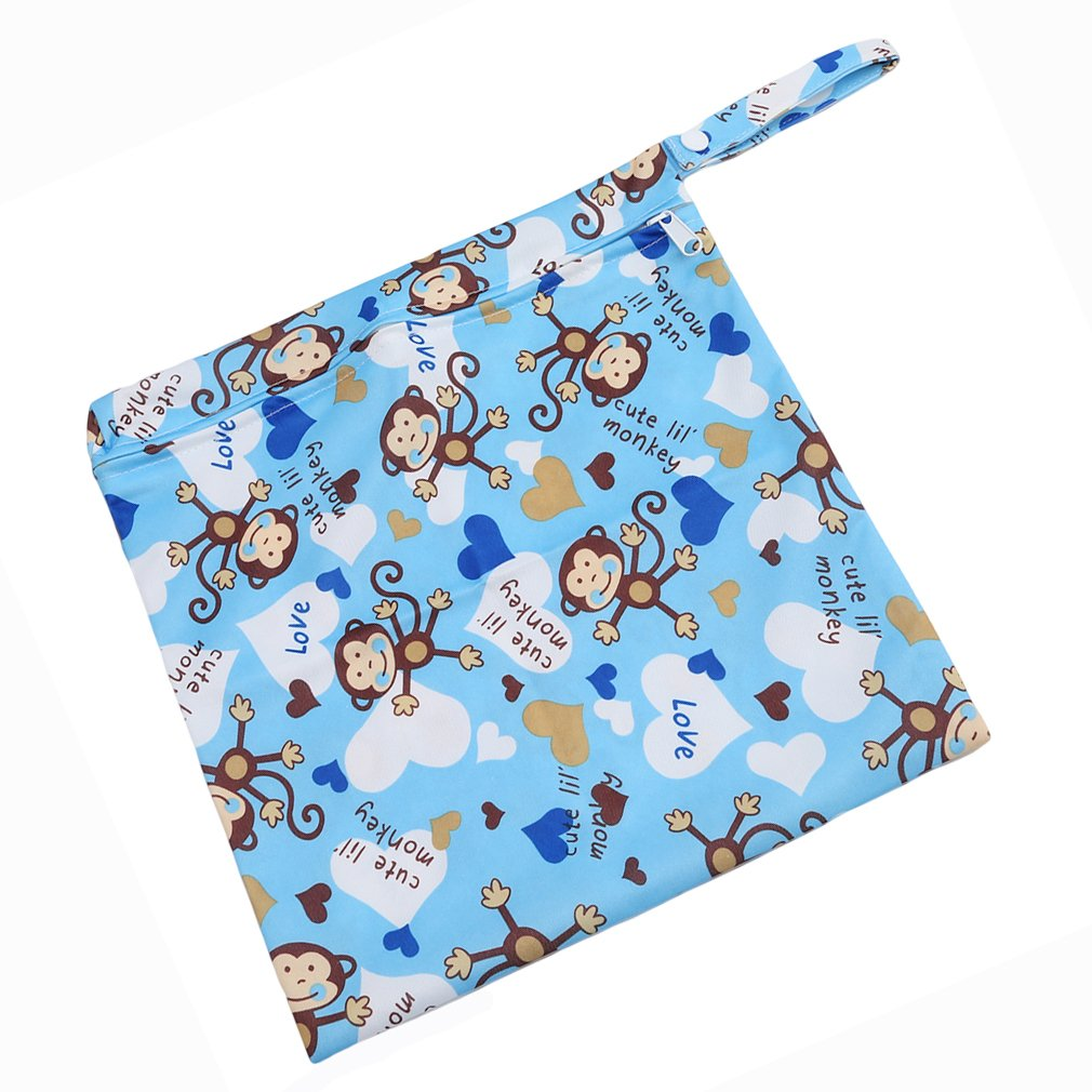 love VWH Baby Waterproof Zipper Bag Washable Reusable Infant Nappy Changing Cloth Diaper Bag