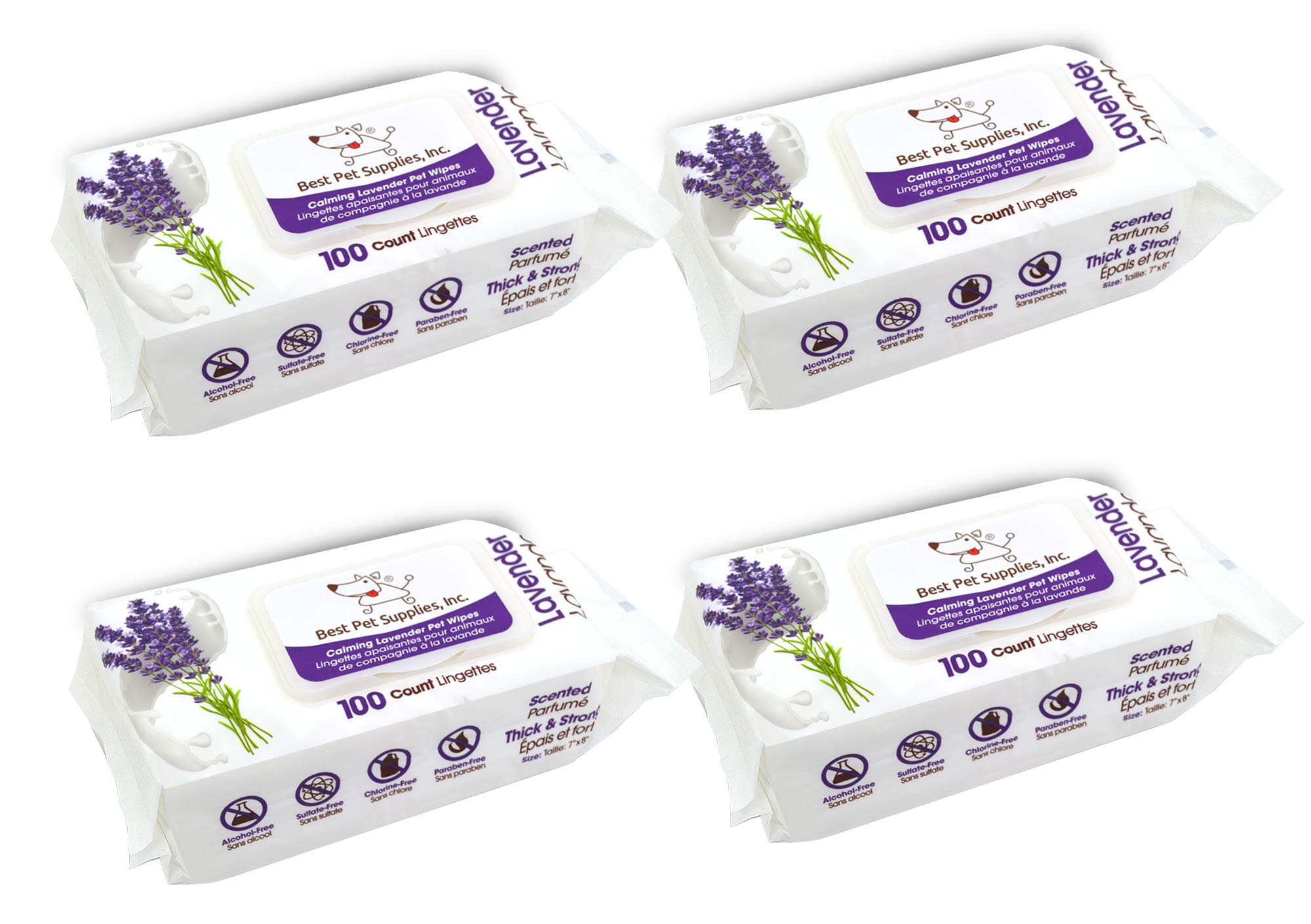 Lavender-Scented Calming Pet Wipes for Dogs & Cats - Extra Soft & Strong Grooming Wipes with Gentle Plant-Derived Formula - by Best Pet Supplies