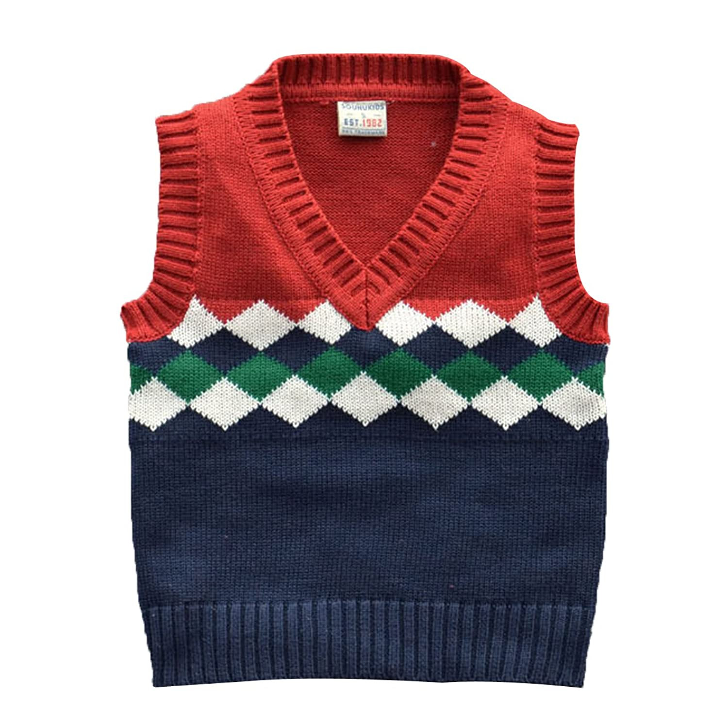 1930s Childrens Fashion: Girls, Boys, Toddler, Baby Costumes Boys School Uniform Cable Front Color Block Sweater Vest Clothing Activewear $18.79 AT vintagedancer.com