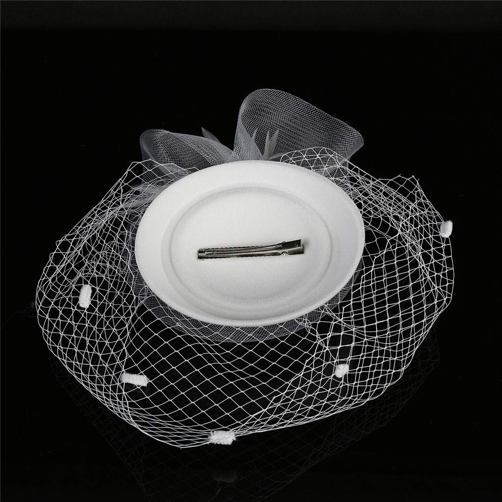 Bovake Fascinators Hats Elegant 20s 50s Hat Pillbox Hat Cocktail Tea Party Headwear with Veil for Girls and Women