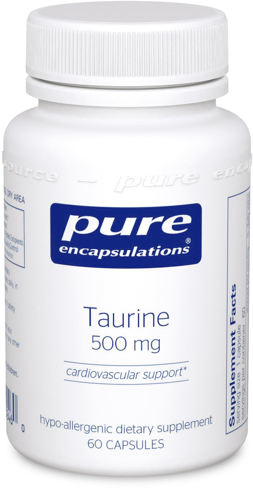 Pure Encapsulations - Taurine 500 mg - Hypoallergenic Supplement to Support Brain, Heart, Gallbladder, Eyes, and Vascular System* - 60 Capsules