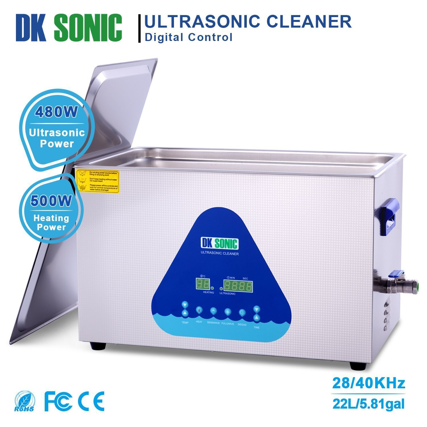 Lab Digital Ultrasonic Carburetor Cleaner Heated - DK SONIC 22L 480W Ultrasonic Gun Cleaner for Parts Jewelry Brass Eyeglass Ring Fuel Injector Glasses Record Diamond Circuit Board 28/40KHz by DK SONIC (Image #2)