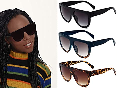 15deba1117 Women s Fashion Flat Top Super Future Sunglasses Retro Vintage Shades.  Back. Double-tap to zoom
