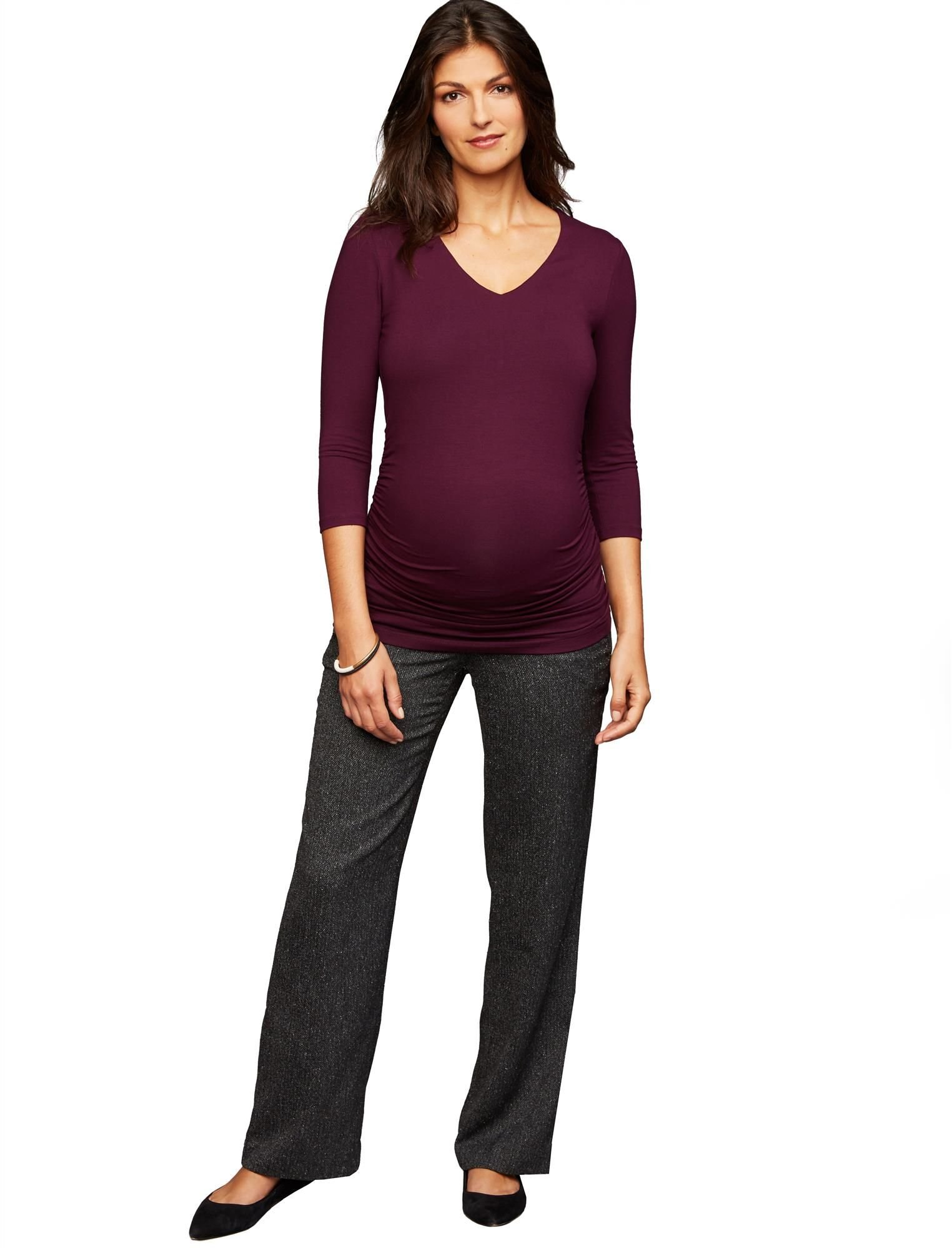 A Pea in the Pod Secret Fit Belly Novelty Stitch Boot Cut Maternity Pants