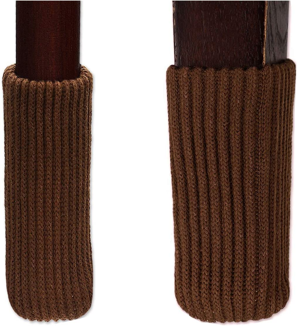 TEKEFT 20 pcs Knitting Wool Furniture Socks Chair Leg Socks Furniture Sliders That Protect Hardwood Floors from Scratches Socks Gifts (Brown)