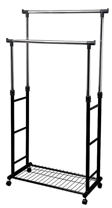 M Home Barra para Colgar Ropa Doble, Metal, Gris, 90x43x7 cm
