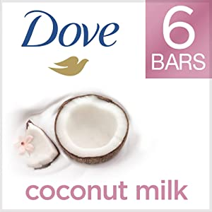 DoveMore Moisturizing than Coconut Soap Bars, Coconut Milk Beauty Bar 4 oz, 6 Bar