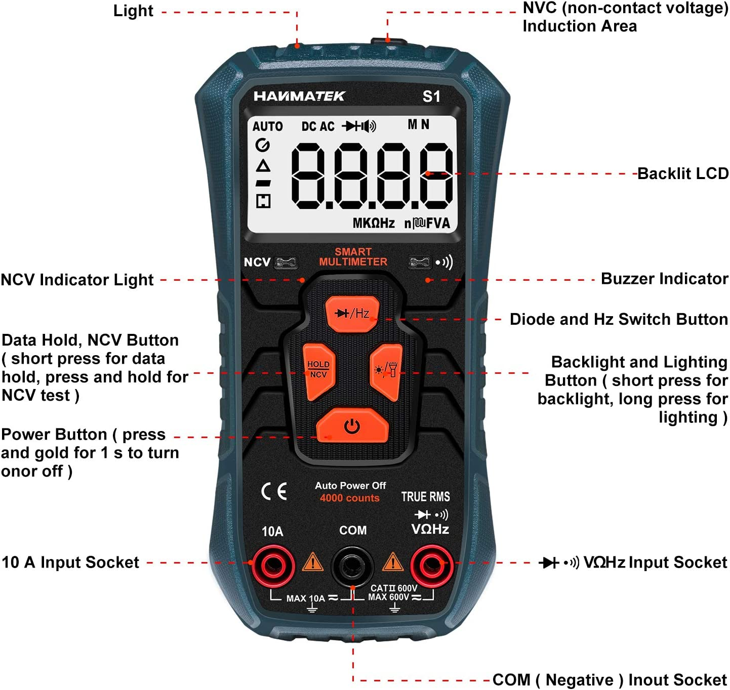 Hanmer Digital Multimeter Auto Range True Rms Ac Dc Volt Advanced Current Detector Multimeter 4000 Counts Resistance Continuity Outer Conductor Identification With Backlight Baumarkt