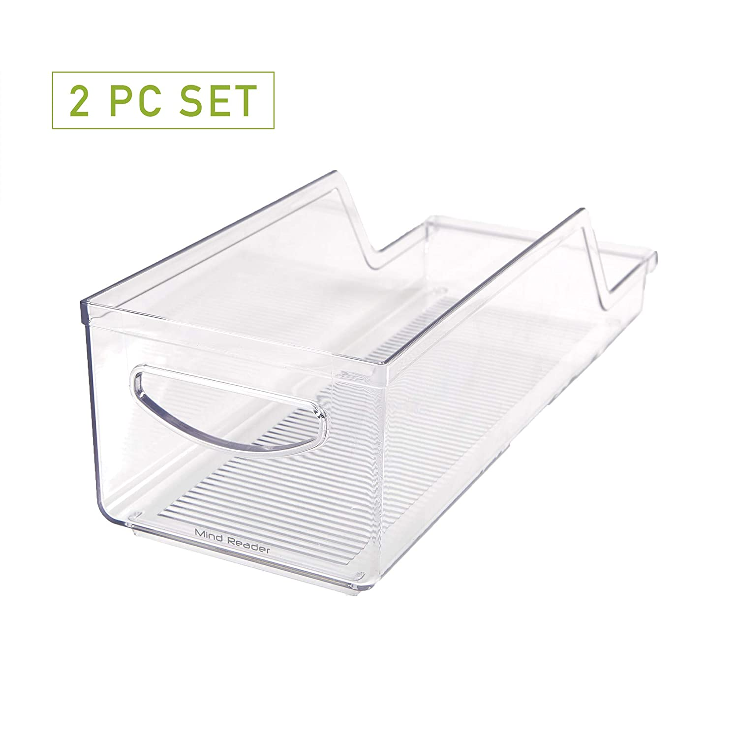 Mind Reader SCANORG2-CLR Stackable Can Storage Organizer for Fridge, Freezer, Countertop, Pantry, Clear, 2 Pack