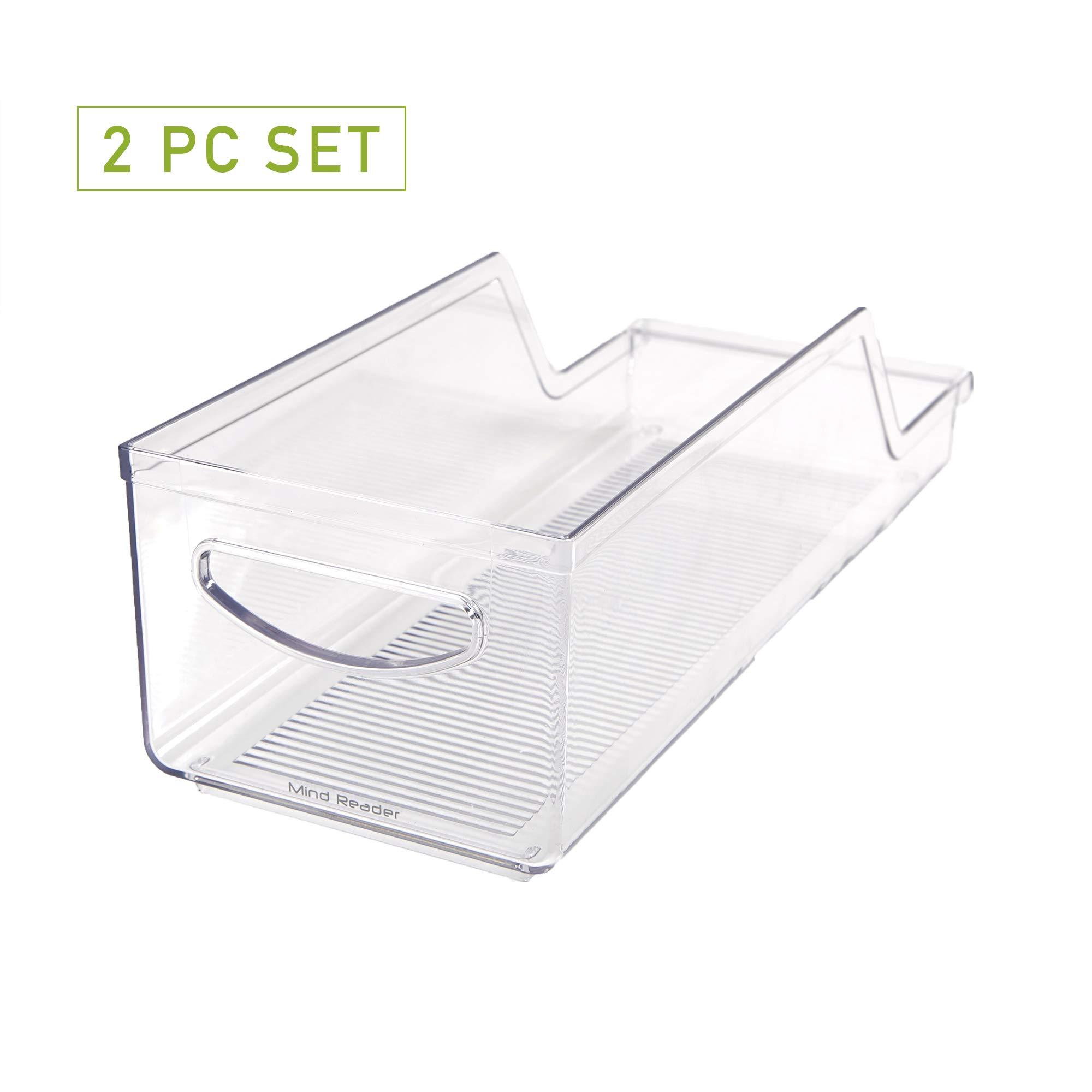 Mind Reader SCANORG2-CLR Pop/Soda Can Dispenser Storage Organizer Bin for Kitchen Pantry, Countertops, Cabinets, Refrigerator 2 Pack, Clear