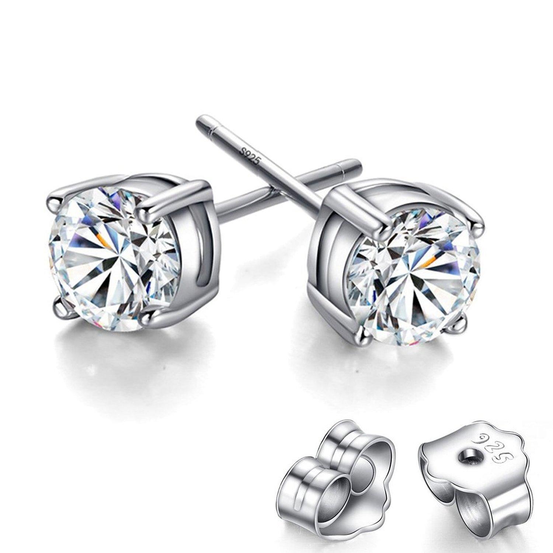 Amazon Feramox Womens CZ Earring Studs Rhodium Plated Round Cut