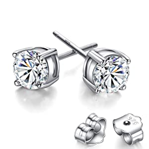 Feramox Sterling Silver Rhodium Plated Round Cut Cubic Zirconia Stud Earrings for Girls