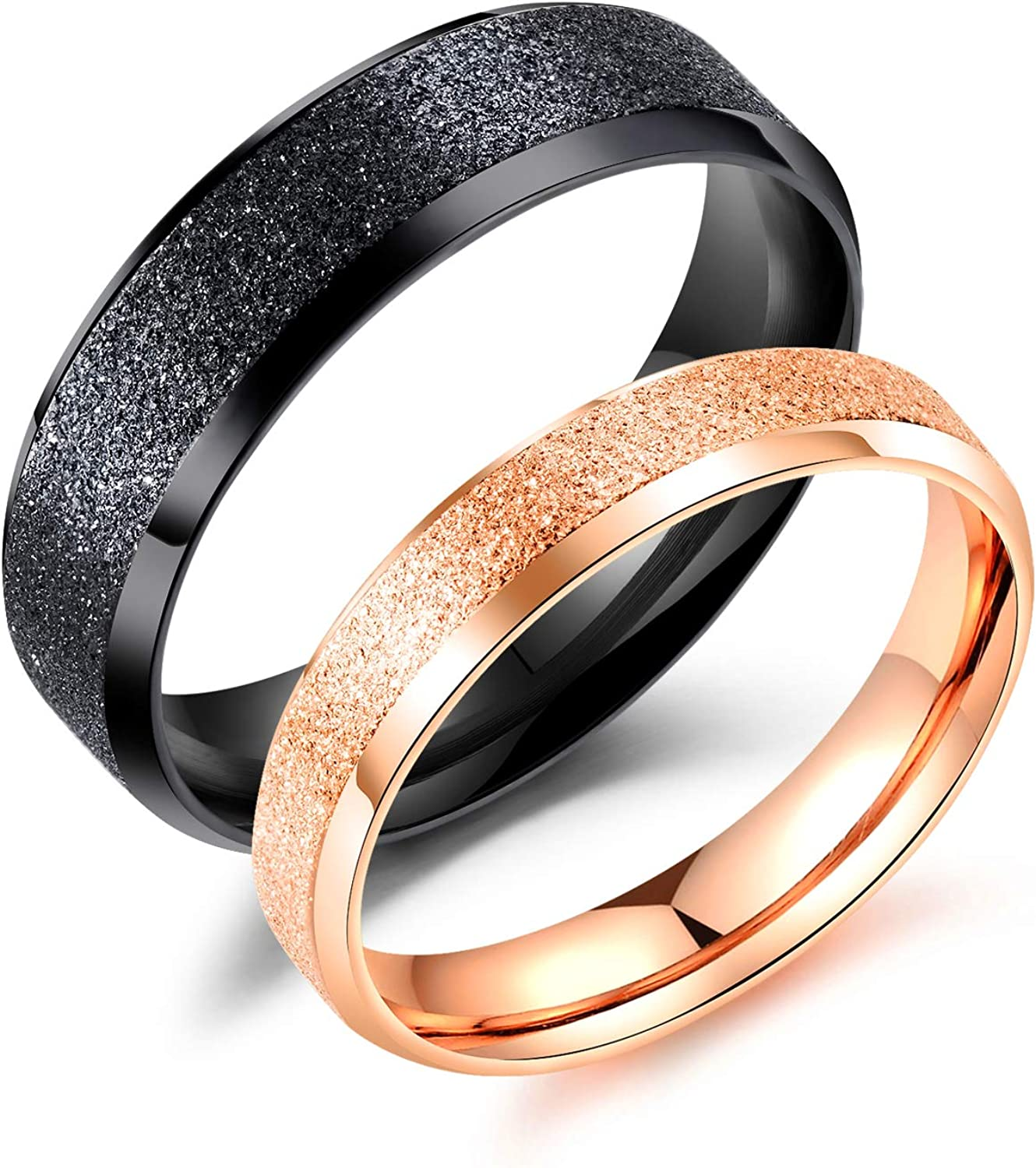 This is a photo of LOVE Beauties Jewelry Promise Rings for Couples Wedding Bands Sets for Him and Her Rose Gold Matching Set Couple Wedding Band Ring
