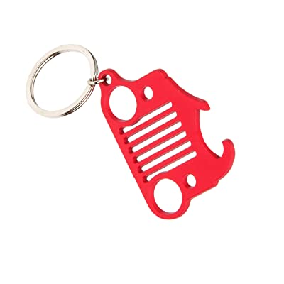 EVAPLUS Car Key Chain Key Ring with Bottle Opener for Jeep Wrangler Accessories Enthusiasts-Jeep Front Grille Design and Stainless Steel Material Red: Automotive [5Bkhe0911945]