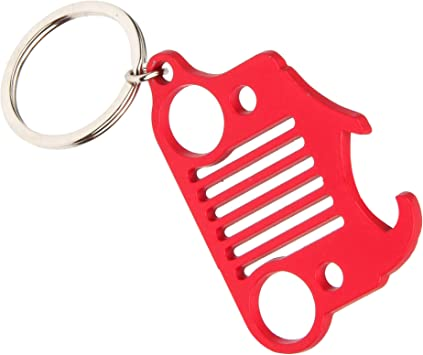 Black EVAPLUS Car Key Chain Keychain Key Ring for Jeep Wrangler Accessories Enthusiasts-Jeep Front Grill Design and Stainless Steel Material with 4 Colors