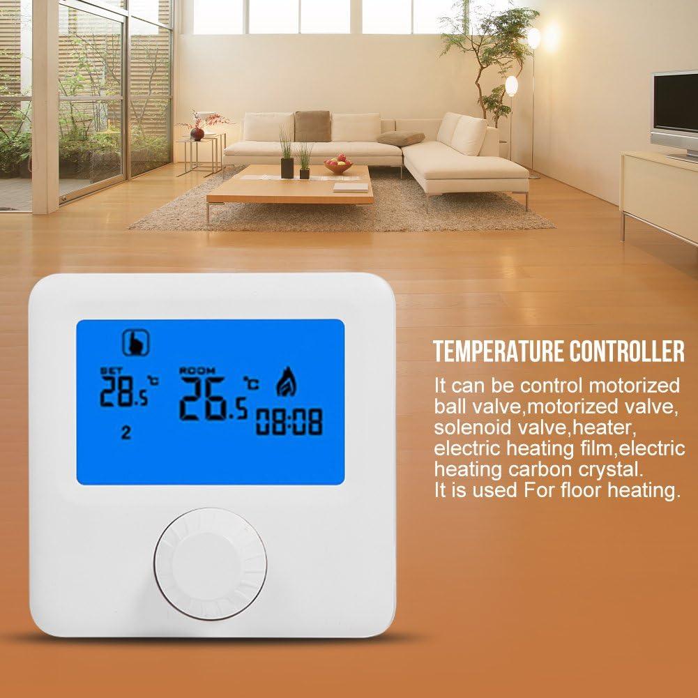 Controlador de temperatura, termostato de calefacción Termostato digital con pantalla grande Pantalla LCD Colgante de pared para control de temperatura ambiente (blanco)