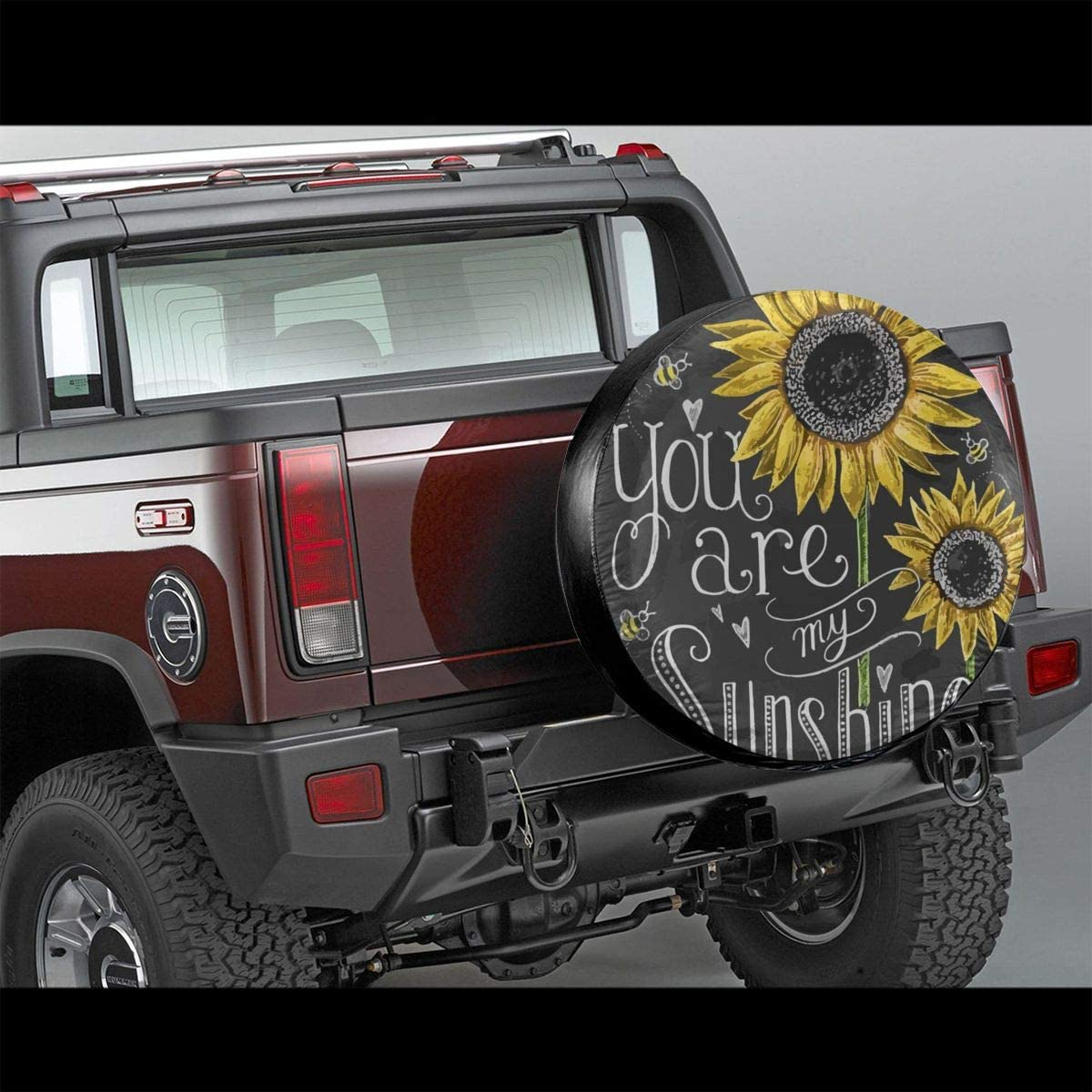 Spare Tire Cover For Trailer SUV Camper Travel Trailer Accessories You Are My Sunshine Sunflower Water Proof Sunscreen Universal Spare Wheel Tire Cover Fit 14 15 16 17 DIY Tire Protective Cover