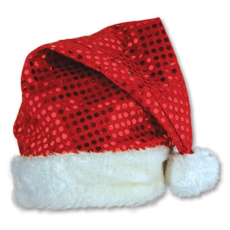 Pack of 12 sequin-sheenサンタクリスマス帽子フリーサイズ B010RIE7R6