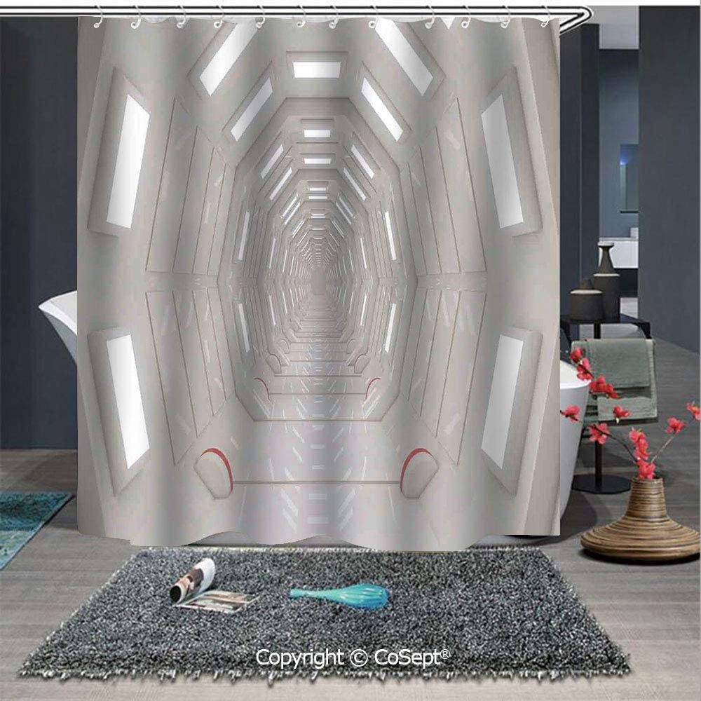"""SCOXIXI Easy Care Polyester Shower Curtain,Galactic Travel Atmospheric Plasma Cosmonaut Transportation Interior Design,for Master,Kid's,Guest Bathroom,Standard(59.05"""" x 70.86""""),Warm Taupe"""