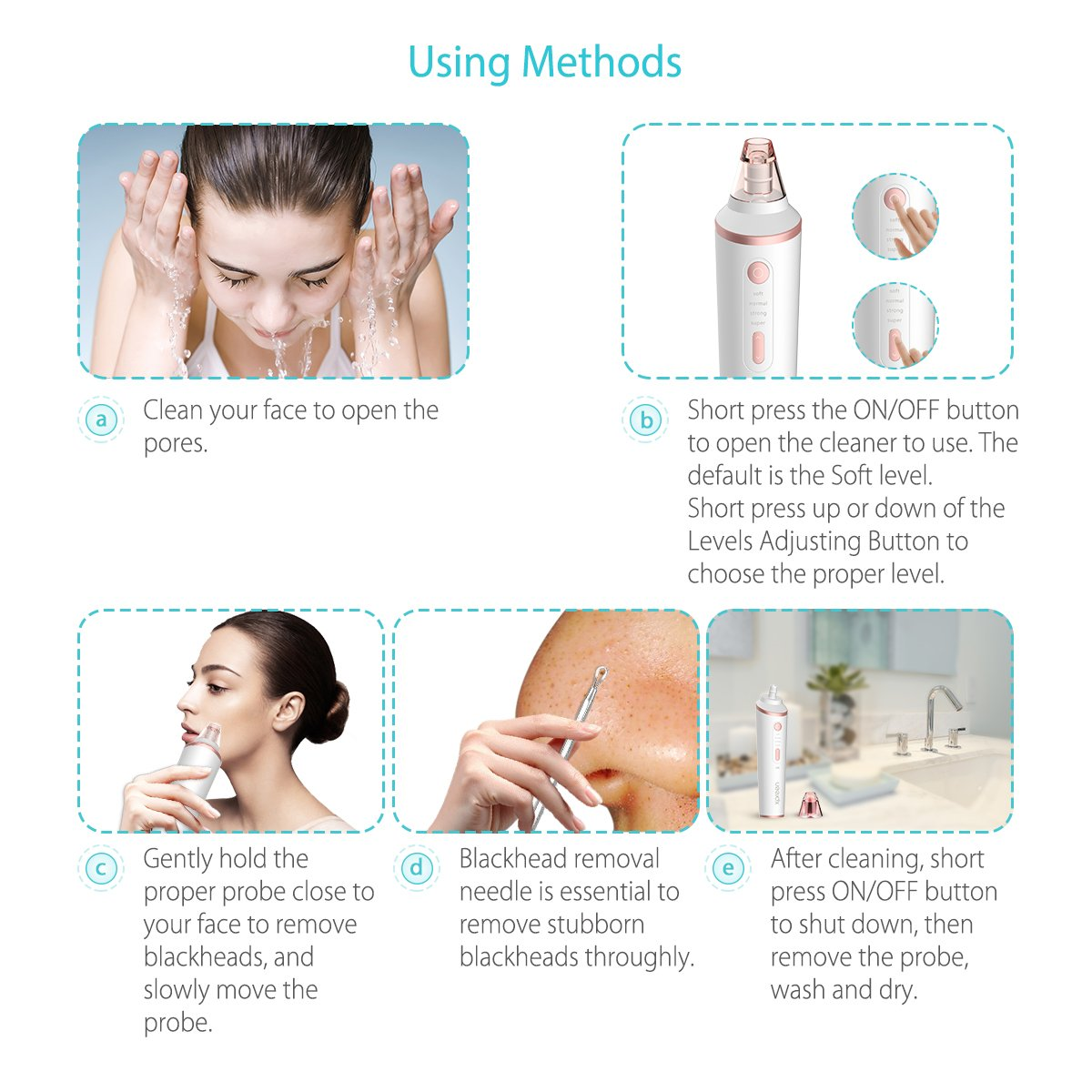 Xpreen Pore Vacuum Blackhead Remover by Wireless Charging Comedo with LED  Lighting Function (White)