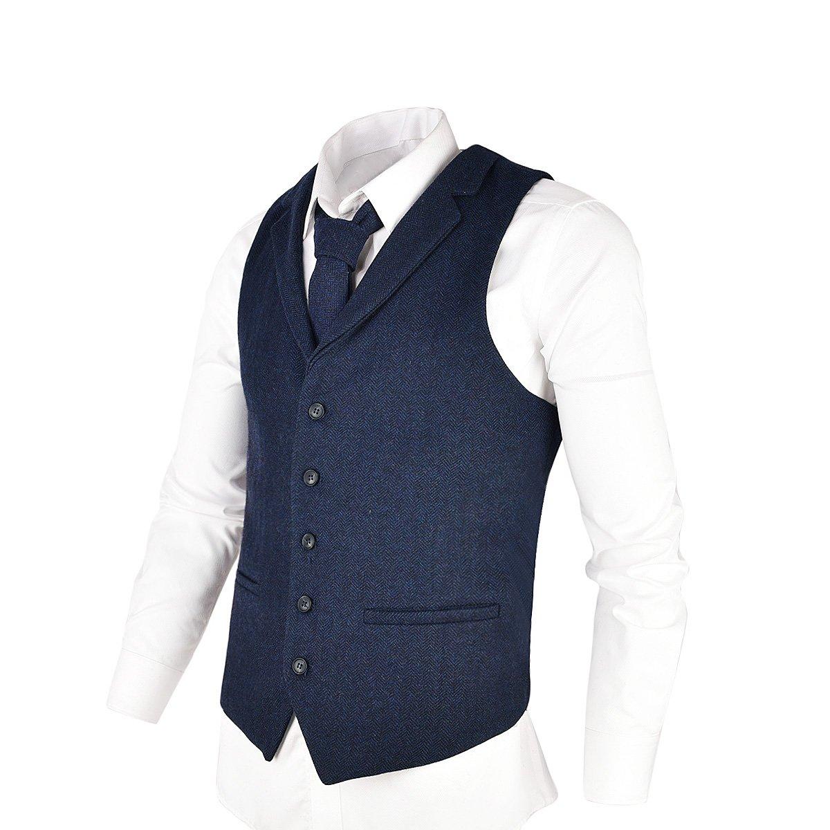 VOBOOM Mens Herringbone Tailored Collar Waistcoat Fullback Wool Tweed Suit Vest (Navy Blue, L)