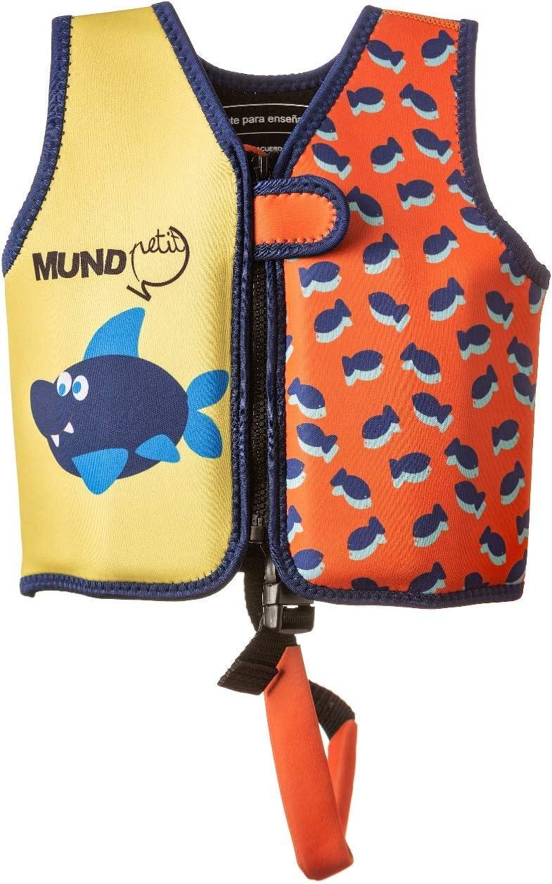 MUNDO PETIT -Chaleco de Ayuda a la flotabilidad Aprendizaje de la natación, Naranja, Ideal para peques de 9 a 15 kg (Peces)