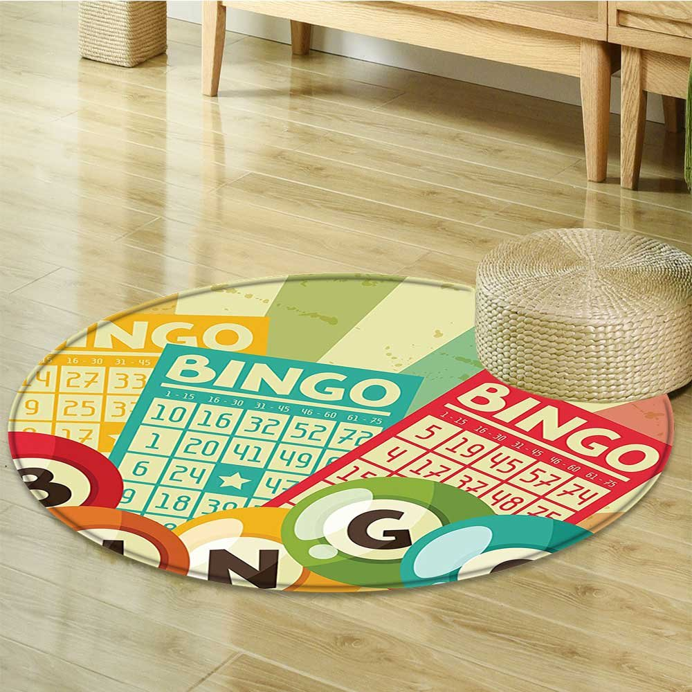 Round Area Rug Bingo Game with Ball and Cards Pop Art Stylized Lottery Hobby Celebration Theme Indoor/Outdoor Round Area Rug-Round 51'' by Liprinthome