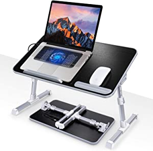 Lap Desk, Canjoy Bed Desk for Laptop, Angle Height Adjustable Laptop Bed Tray Table with Cooling Fan,Folding Laptop Stand Desk Table for Eating,Working,Writing,Gaming,Drawing, 20.5x11.8 inch (Black)