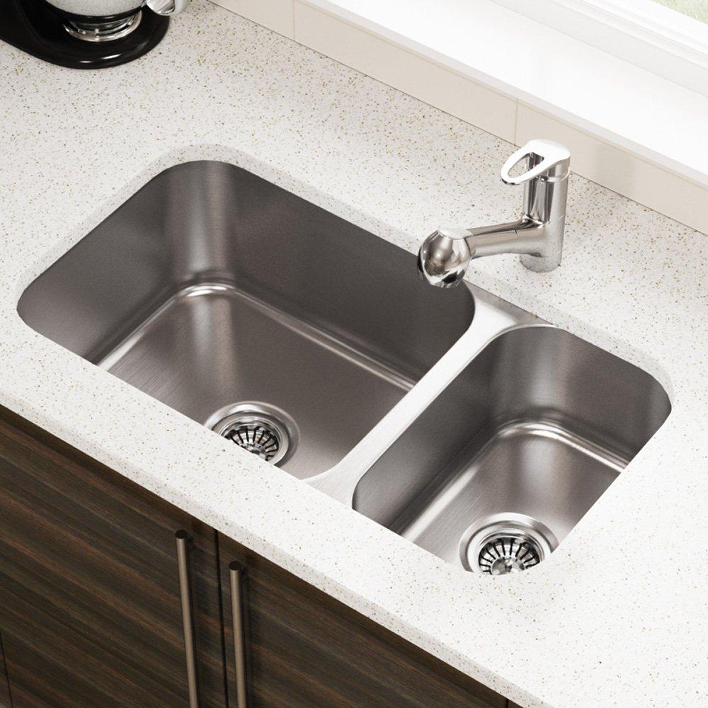 MR Direct 3218C 18-Gauge Undermount Single Bowl Stainless Steel Kitchen Sink/…