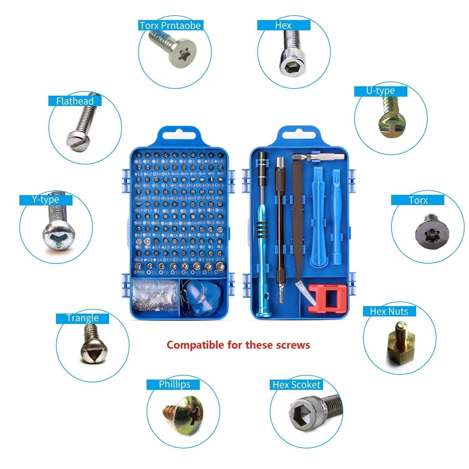 Screwdriver Set,110 in 1 Precision Screwdriver Repair Tool Kit,Fomatrade Magnetic Driver Kit Professional Repair Tool Kit for iPhone X 8,7 Cellphone Computer Tablet PC Electronics Devices Blue