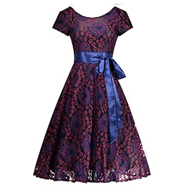 Tunic Lace Vintage Dress Female Robe Pul Casual 1950s Rockabilly Short Cap Sleeve V-Back