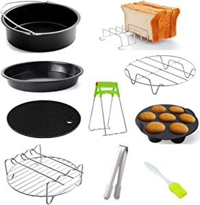 6 Inch Air Fryer Accessories, 10 Pcs Universal Air Fryer Parts Fits All 2.3QT - 3.2QT Air Fryer, Steel Pizza Pan Baking Cake Barrel