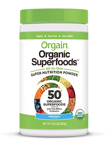 Orgain Organic Green Superfoods Powder, Original – Antioxidants, 1 Billion Probiotics, Vegan, Dairy Free, Gluten Free, Kosher, Non-GMO, 0.62 Pound Packaging May Vary
