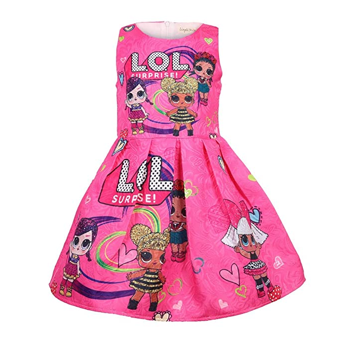 f90848a2c6b7 Girls LOL Doll Surprise Princess Fancy Dress Cosplay Costumes Party Outfit  (7-8 Years, Rose): Amazon.co.uk: Clothing
