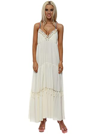 d0e4f7853e6 Laurie   Joe Cream Tiered Boho Rainbow Chain Dress One Size Cream Ivory