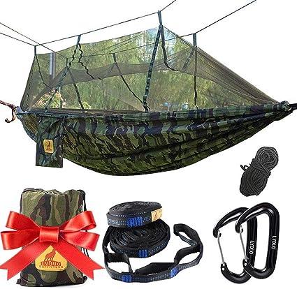 Hängematten mit Moskitonetz,Tragbare Nylon Camping Hängematte Double Hängematte