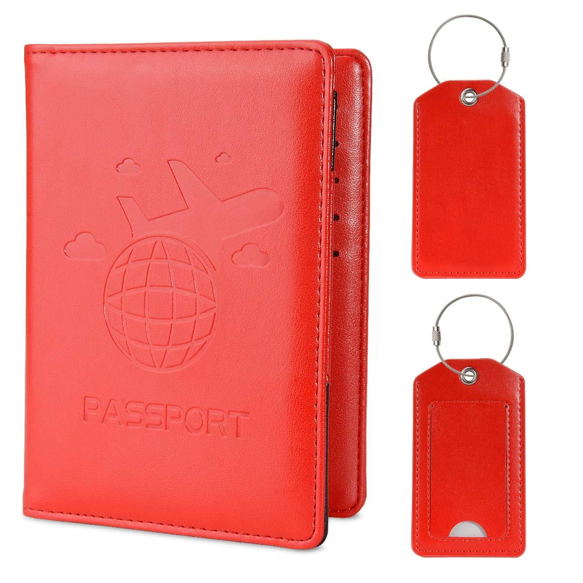 COCASE protège Passeport Housse, RFID Blocage Voyage Protecteur Portefeuille Pochette étui de Protection Passeport avec 2 l'étiquette de Bagage Documents (l'or Rose) CO-pspt-rg