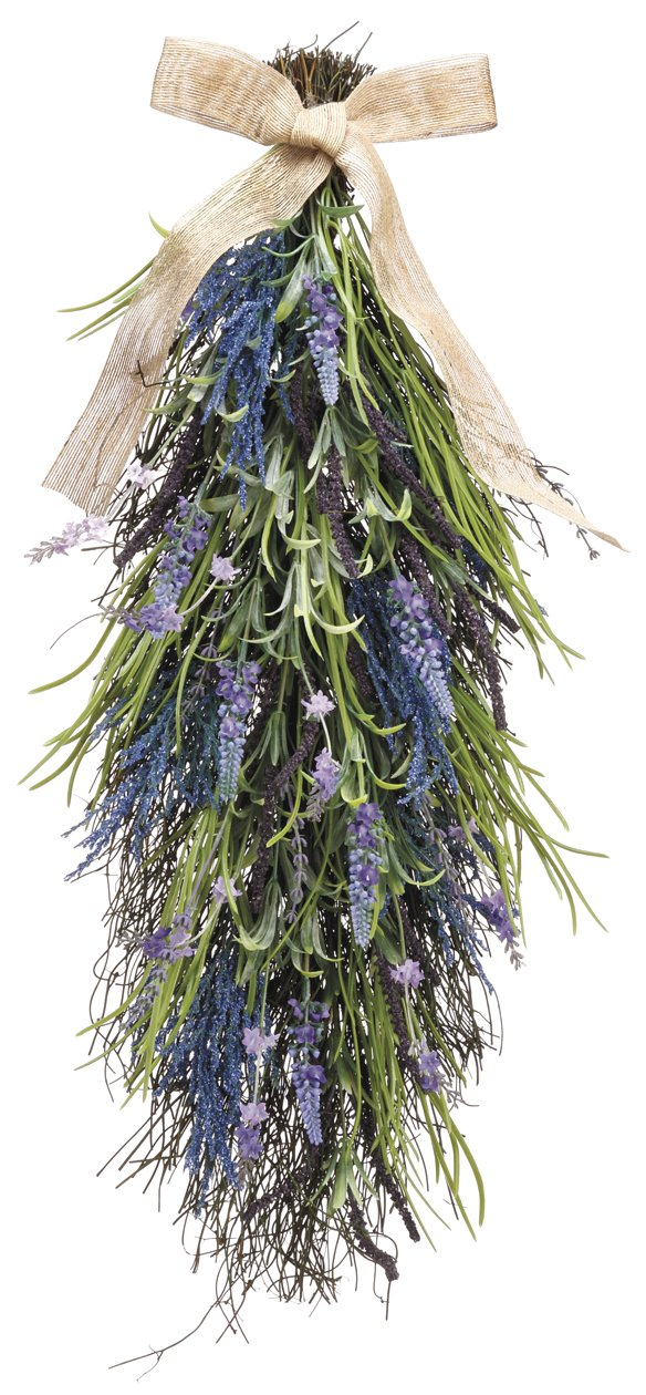 27 Inch Artificial Lavender and Wild Grasses Door Swag On A Vine Base ALL FAL030-LV/PU-UPC