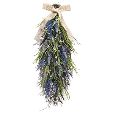 27 Inch Artificial Lavender and Wild Grasses Door Swag On A Vine Base