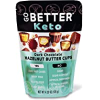 GO BETTER Keto Cups | Zero Net Carbs | Dark Chocolate Hazelnut Butter | Gluten Free, Dairy Free, Vegan Keto Snack with Simple Ingredients | No Artificial Flavors or Colors | 4.25 oz Bag