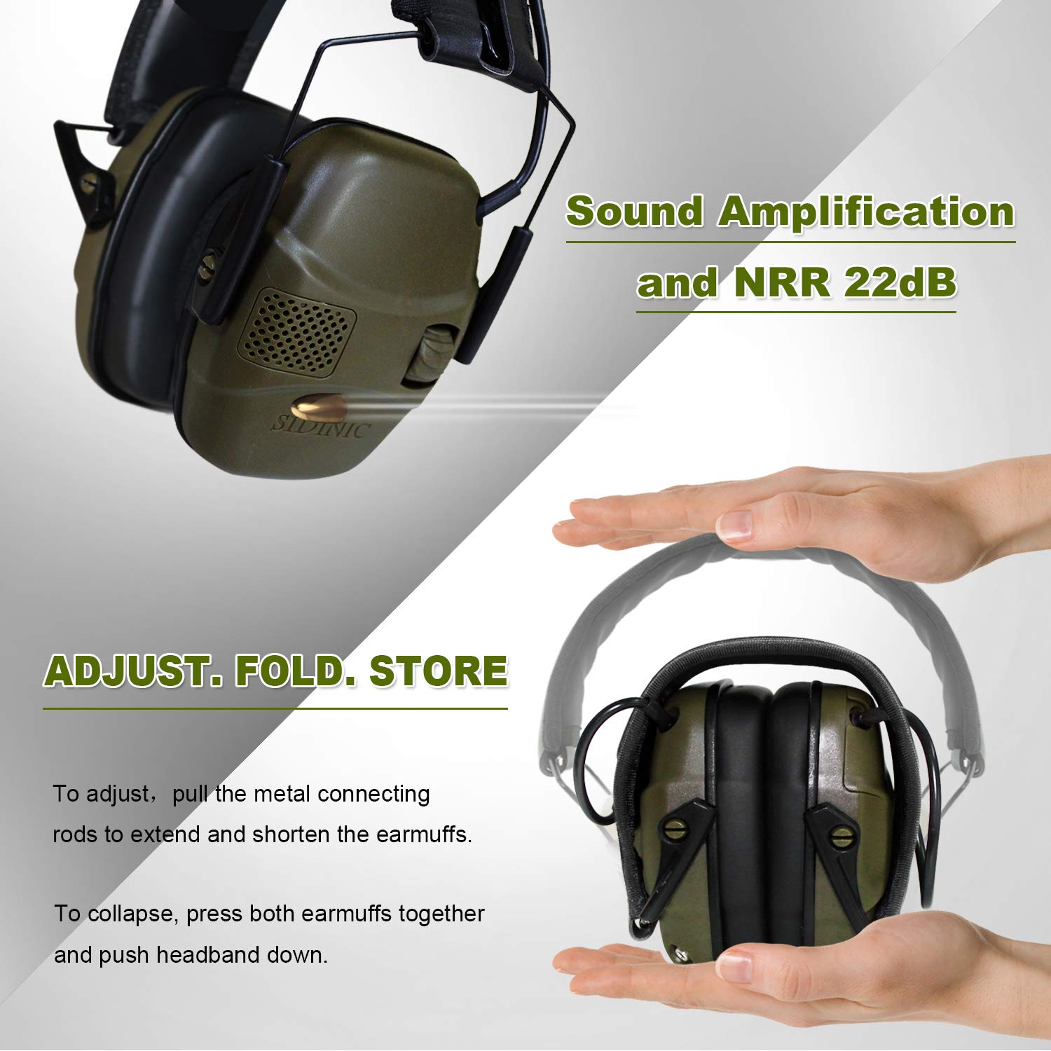 ucho Electronic Shooting Earmuff Safety Ear Protection - Shooting Ear Protection Muffs with Sound Amplification and Noise Reduction Safety Ear Muffs, NRR 22dB Ideal for Shooting and Hunting