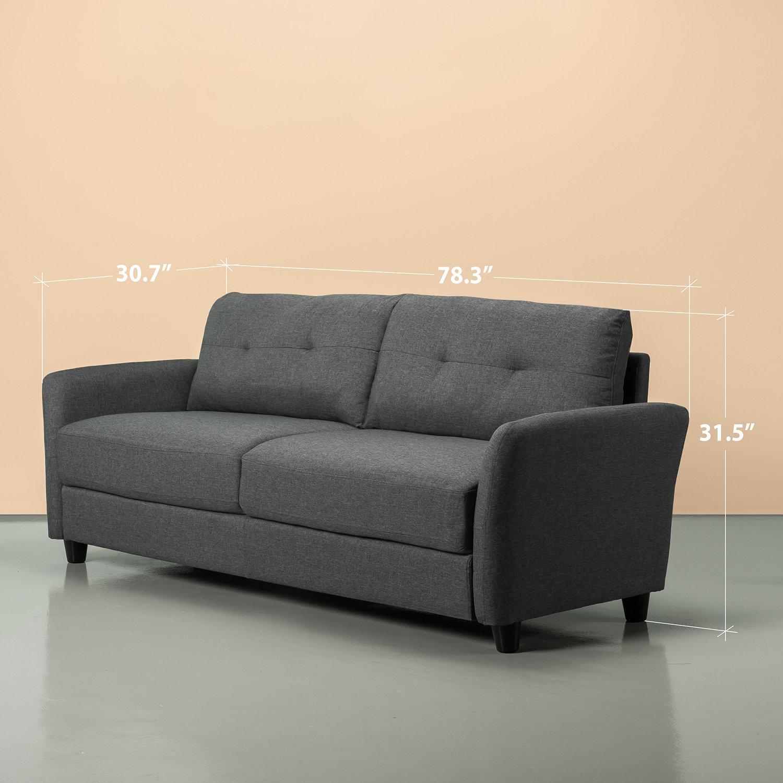 Amazon.com: Zinus - Sofá tapizado contemporáneo, Tela, Gris ...