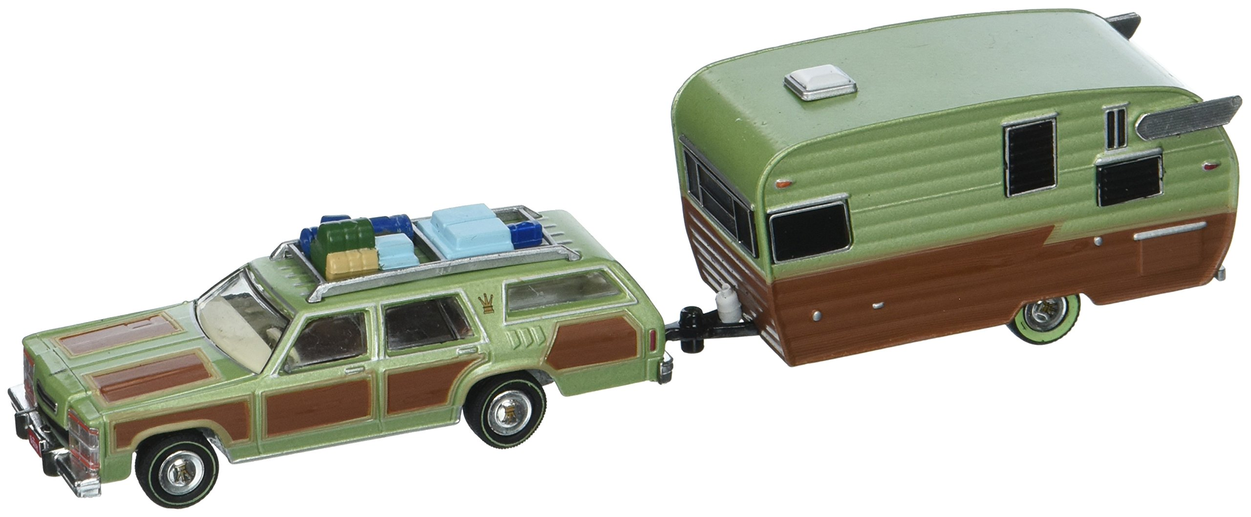 1979 Family Truckster Wagon Queen National Lampoon's Vacation (1983) with Shasta 15' Airflyte Trailer Hitch & Tow 1/64 by Greenlight 51036