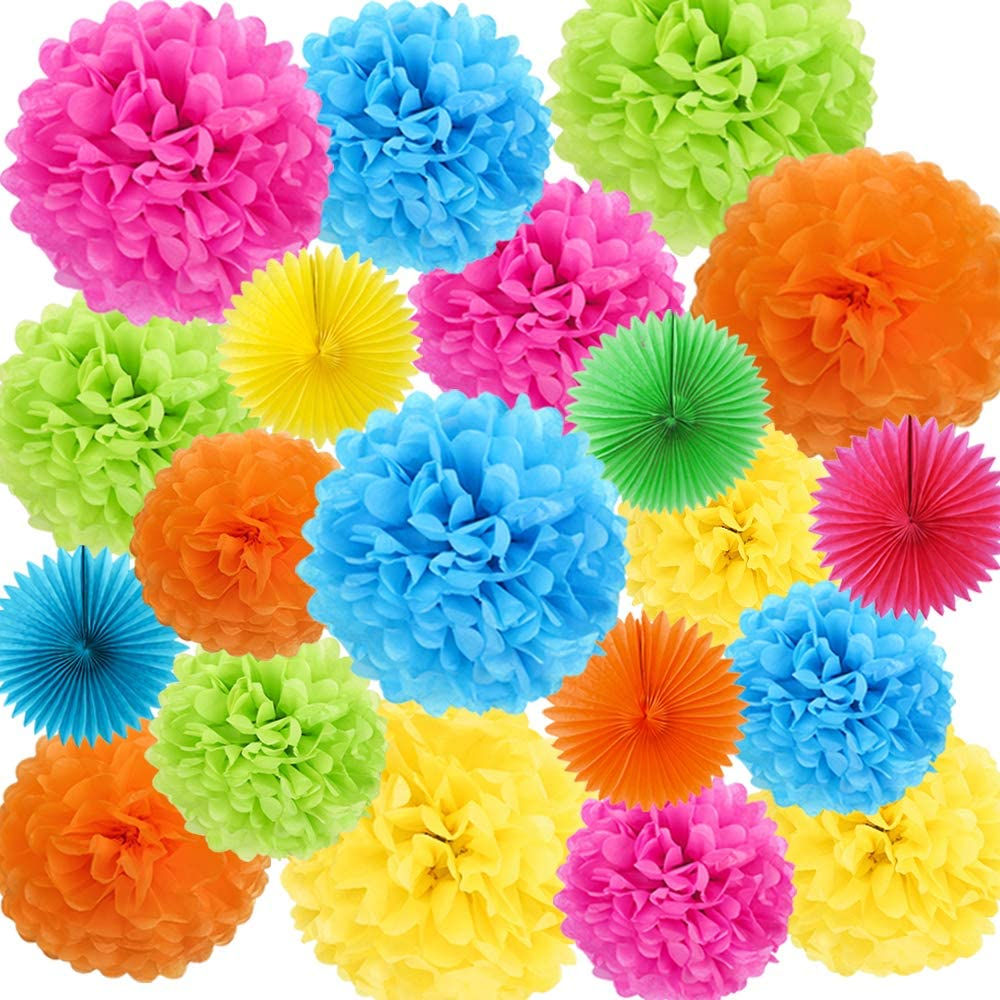 ZJHAI 20pcs Colorful Paper Fans and Tissue Paper Pom Poms, 5 Colors, for Birthday Party, Wedding Decorations, Fiesta or Mexican Party