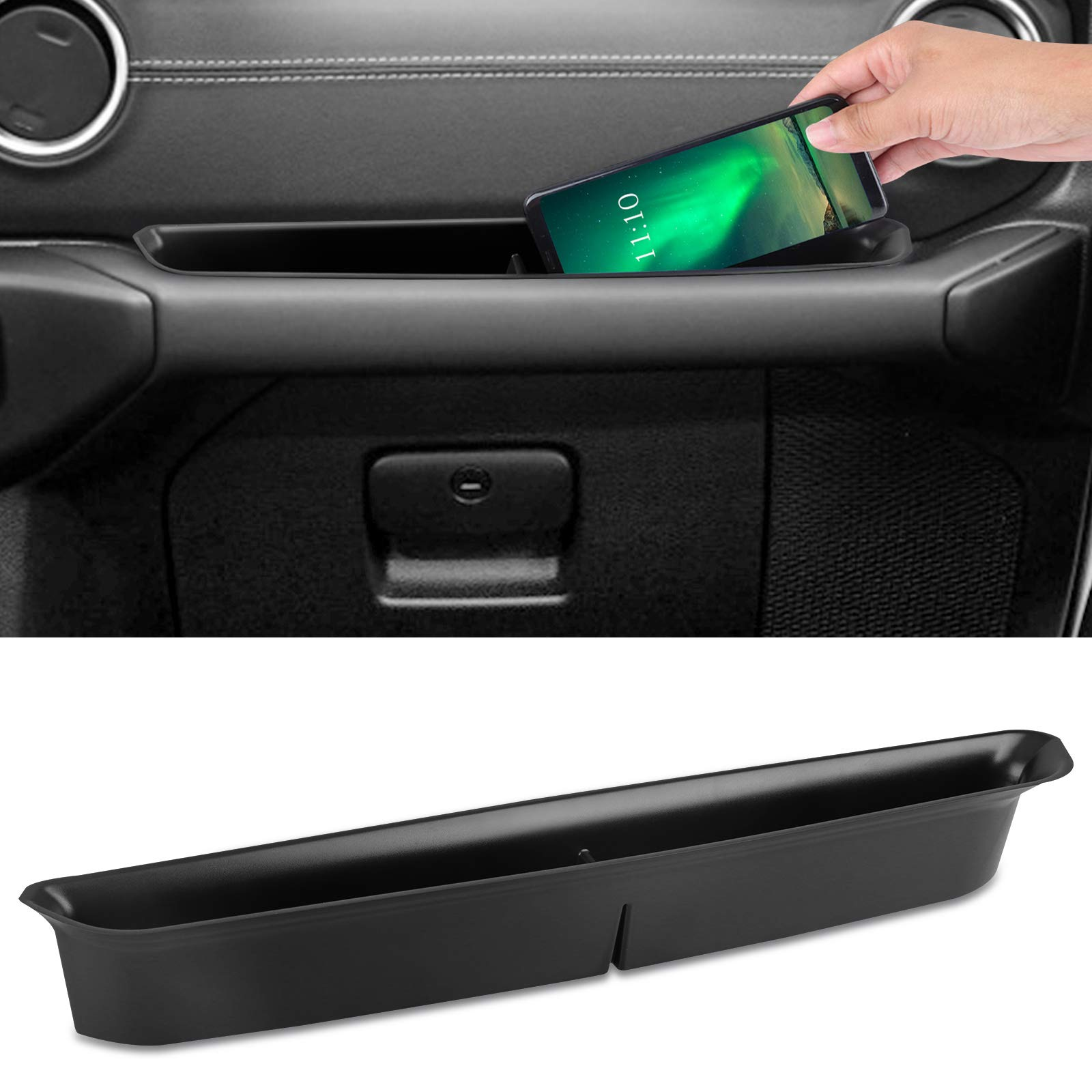 Jeep Wrangler JL GrabTray Passenger Storage Compartment Tray Organizer Grab Handle Accessory Box for 2018 2019 Jeep Wrangler JL JLU & 2020 Jeep Gladiator JT 2/4 door Car Interior Accessories, Black