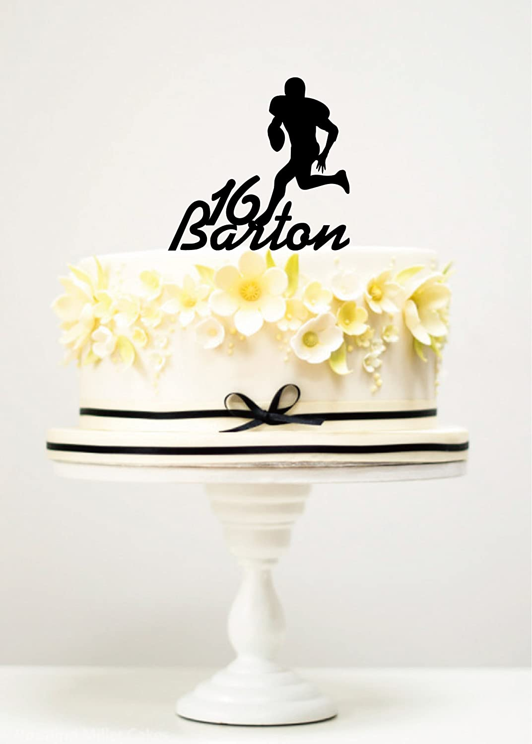 Silhouette  Birthday Personalised American Football Cake Topper