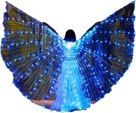 Ali di Iside Divise LED Bianche Danza Costume con Bastoni