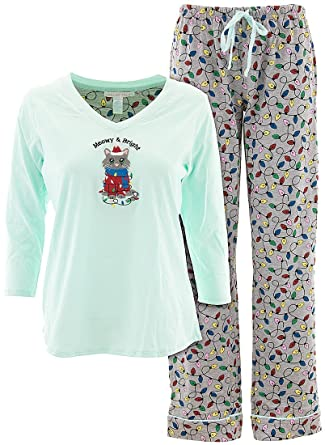 pillow talk womens mint meowy and bright christmas cat pajamas m