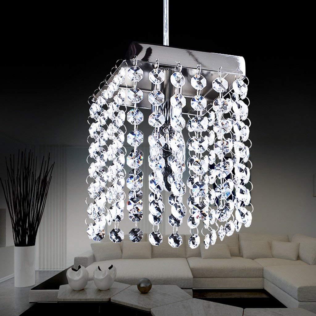 YRE Innen helle und moderne Kronleuchter aus Kristall Lampe Esszimmer LED Edelstahl Kronleuchter aus Kristall für Spannung 90-260 V Beleuchtung (Farbe  keine Lichtquelle)