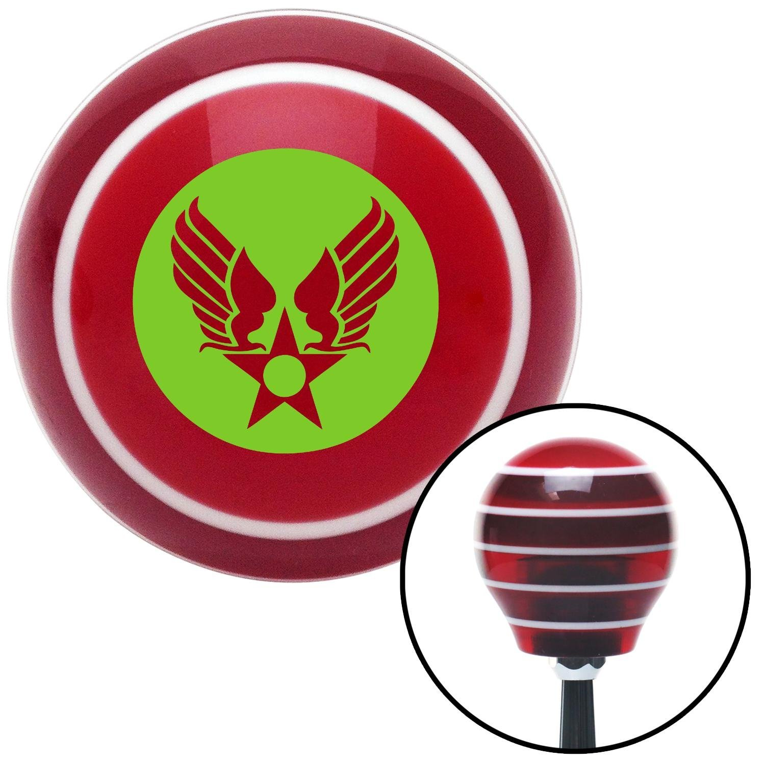 Green Army Air Corps American Shifter 115152 Red Stripe Shift Knob with M16 x 1.5 Insert
